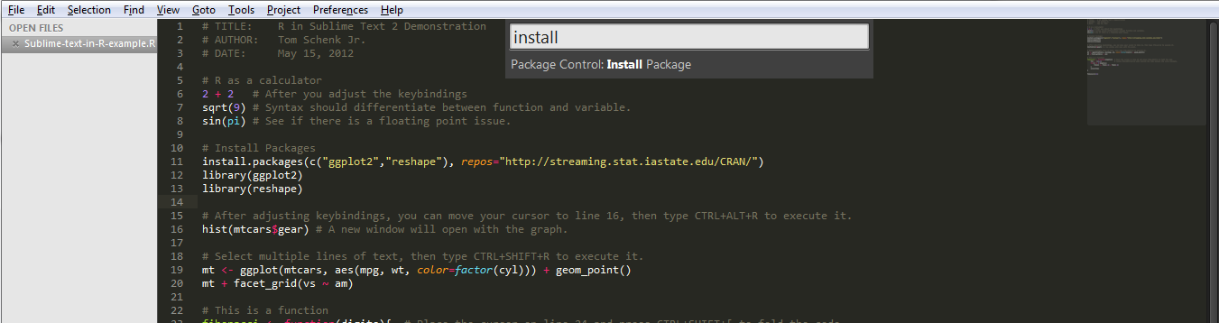 CTRL + SHIFT + P to bring up the package manager