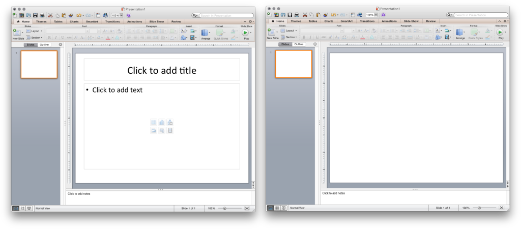 Left: Default PowerPoint template encourages poor practice. Right: Viewing PowerPoint as a blank canvas for display shapes, objects, and media is the best practice.